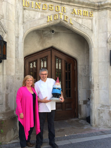 Global food trendologist, Christine Couvelier and world-renowned chef JP Chalet outside the Windsor Arms Hotel for the filming of Travelocity.ca's Culinary Travel Trend Report. (CNW Group/Travelocity.ca)