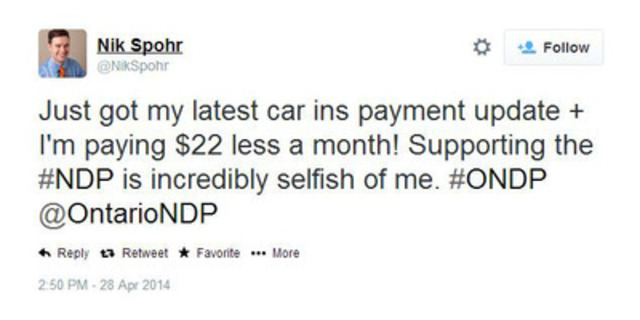 Halton NDP candidate tweet, April 28, 2014 (CNW Group/Ontario Liberal Party)