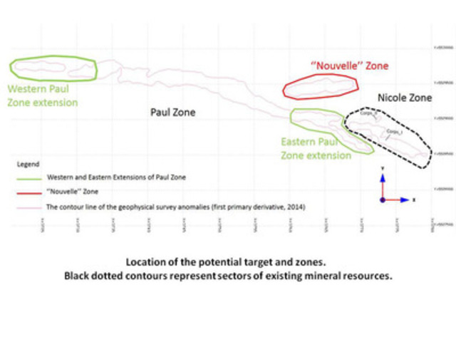 Location of the potential target and zones. Black dotted contours represent sectors of existing mineral resources. (CNW Group/Arianne Phosphate Inc.)