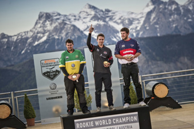 The second Rookie World Championship in the STIHL TIMBERSPORTS® Series history took place on May 25th in the Tyrol Alps, Austria. Ben Cumberland from Canada (centre) is delighted to win gold. Andrew Kelly from Australia (left) won silver, while Ben Kniceley from the United States (right) took bronze. Photo credits: STIHL TIMBERSPORTS® Series (CNW Group/STIHL TIMBERSPORTS Series)