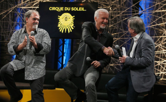 Cirque du Soleil President and CEO Daniel Lamarre with Jon Landau and James Cameron from Lightstorm Entertainment announced a partnership to develop new arena touring show touring show based on the famous movie AVATAR. (CNW Group/Cirque du Soleil)