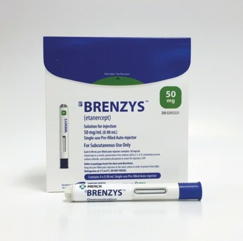 Merck announces approval of BRENZYS™ (etanercept) - the first subcutaneous anti-TNF biosimilar medicine approved in Canada for the treatment of rheumatoid arthritis and ankylosing spondylitis. Biosimilars provide a lower-cost option for patients starting on a new biologic treatment and could generate savings for the healthcare system. (CNW Group/Merck Canada Inc.)