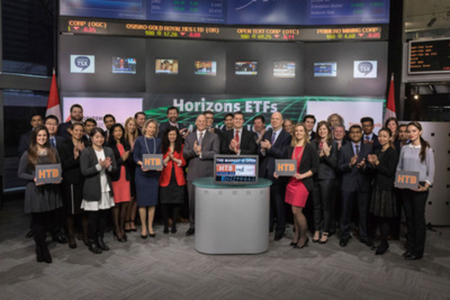 Howard Atkinson, President, Horizons ETFs Management (Canada) Inc., joined Amelia Nedovich, Head, Business Development, Exchange Traded Funds (ETF) and Structured Products, TMX Group to open the market to launch Horizons US 7-10 Year Treasury Bond ETF (HTB/HTB.UN). Horizons ETFs is a financial services company and a subsidiary of the Mirae Asset Financial Group. (CNW Group/TMX Group Limited)