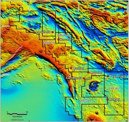 Figure 2 - Aeromagnetic image showing location of Latitude Hill Project tenements (CNW Group/Chalice Gold Mines Limited)