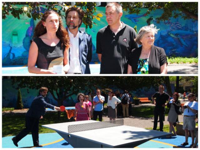 Inauguration de la devanture de la piscine Baldwin dans Le Plateau. (Groupe CNW/Ville de Montréal - Arrondissement du Plateau-Mont-Royal)