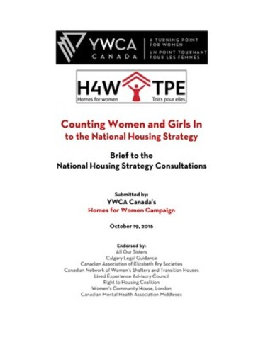 Counting Women and Girls In to the National Housing Strategy: Brief to the National Housing Strategy Consultations (CNW Group/YWCA Canada)