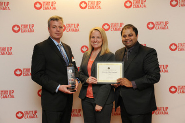 From left to right is:Martin Wielemaker, Associate Professor, Business Administration; Karina Leblanc, Executive Director, Pond-Deshpande Centre; Dhirendra Shukla, Chair, Dr. J. Herbert Smith Centre for Technology Management and Entrepreneurship. (CNW Group/University of New Brunswick)