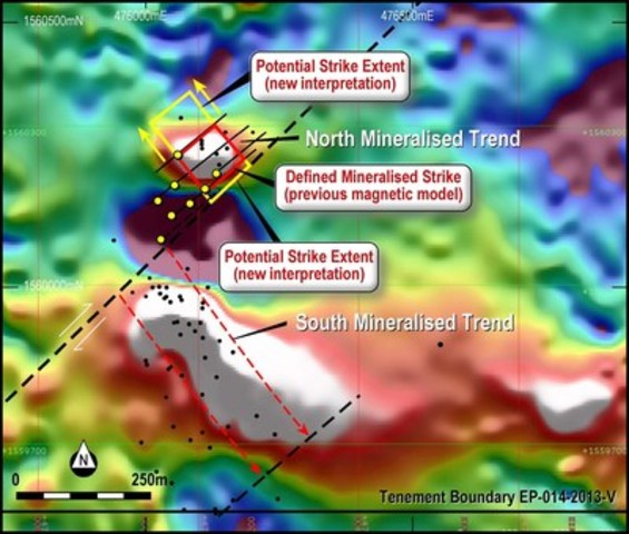 Figure 3. Additional areas of strike extension on North Mineralised Zone. (CNW Group/RTG Mining Inc.)