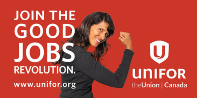 Unifor billboard artwork scheduled to run in Halifax, Montreal, Toronto, Edmonton and Vancouver on October 7, 2013 (CNW Group/Unifor)