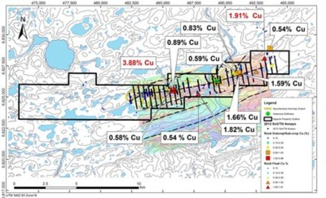 Figure 1 b : Carte des résultats pour le cuivre dans des échantillons choisis de roche – programme de prospection 2015 à Qiqavik et résultats historiques de 2012 (Groupe CNW/Corporation Royal Nickel)