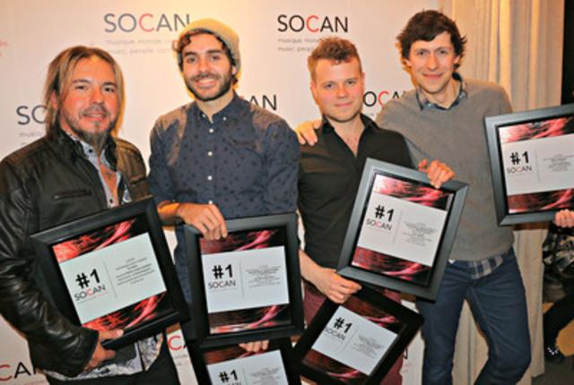 Parmi les auteurs-compositeurs honorés hier soir par la SOCAN pour leurs récents succès au palmarès, on retrouvait Éric Maheux (Kaïn), Alex Nevsky et son compère d'écriture Gabriel Gratton, ainsi que Patrice Michaud. (Photo : Eric Parazelli - SOCAN) (Groupe CNW/SOCAN)