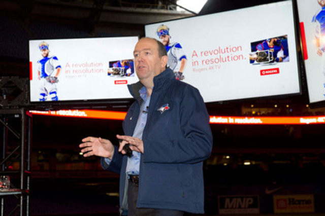 Standing on the infield at Rogers Centre in Toronto, Rogers CEO Guy Laurence announces the company is launching gigabit internet speeds and making the world's largest commitment to live sports broadcasting in 4K including every 2016 Blue Jays home game and over 20 marquee NHL games this season. (CNW Group/Rogers Communications Inc.)