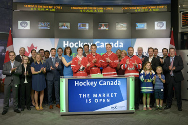 Dana Gladstone, Vice President, Business Development and Partnerships, Hockey Canada and Canada's National Junior Team hopefuls Lawson Crouse, Mitch Marner and Dylan Strome joined Tim Babcock, Director, Listed Issuer Services, TSX Venture Exchange to open the market.  This December, Canada will host the 2017 International Ice Hockey Federation World Junior Championships. Games will be played in Toronto at the Air Canada Centre and in Montreal at Centre Bell.  Hockey Canada is the national governing body and oversees the management of programs from entry-level to high performance teams and competitions. It is focused on investing in and growing the game by using revenue from events, such as the 2017 IIHF World Junior Championship to continue to develop programs across the country. For more information, please visit   www.hockeycanada.ca/en-ca (CNW Group/TMX Group Limited)