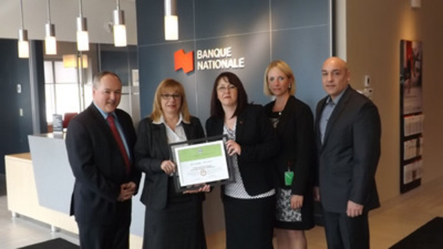 (left to right) : Jonny Bergeron, Vice-President and Regional Manager at National Bank Financial, Carole Girardin, Regional Vice-President for Eastern Townships/Amiante, Isabelle Allie, Manager of the King Street West branch in Sherbrooke, Marie-Christine Marcoux, Private Advisor, National Bank Private Wealth 1859 and Jean-Pierre Lahaye, Senior Manager - Commercial Banking for Eastern Townships. (Absent : Hélène Ménard, Advisor, Premises Department and André Longpré, Manager, Premises Department.). (CNW Group/National Bank of Canada)