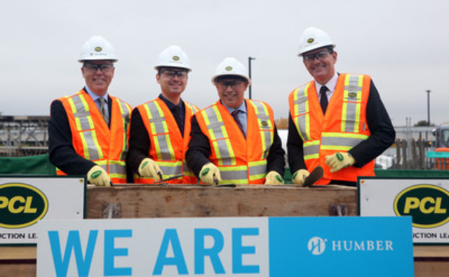 Jim Dougan, PCL Construction President, Tim Brilhante, Humber Students' Federation President, Brad Duguid, Minister of Training, Colleges and Universities and Chris Whitaker, Humber College President together during the official groundbreaking ceremony on Oct. 4, 2013. (CNW Group/Infrastructure Ontario)