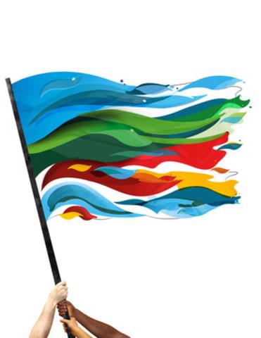 Le drapeau du 100e anniversaire de Montréal-Nord illustre l'importance historique de la rivière des Prairies, et symbolise, par son éventail de couleurs, la diversité culturelle de la population locale ainsi que solidarité des citoyens qui le portent fièrement. (Groupe CNW/Société Montréal-Nord 2015)