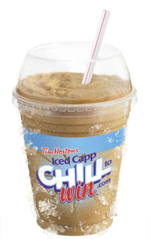 """Tim Hortons, the creator of Roll Up The Rim To Win, is back to launch a brand new, summer-themed Iced Capp contest, """"Chill to Win."""" With the purchase of any size Iced Capp, Canadians have the chance to win thousands of hourly prizes, daily prizes of $1,000 and one of ten $10,000 MasterCard® Prepaid card grand prizes. (CNW Group/Tim Hortons Inc.)"""