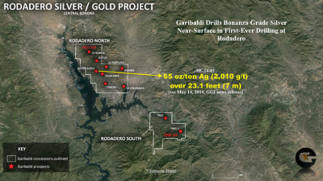 Garibaldi drills bonanza grade silver near-surface at Silver Eagle target, Rodadero (CNW Group/Garibaldi Resources Corp.)