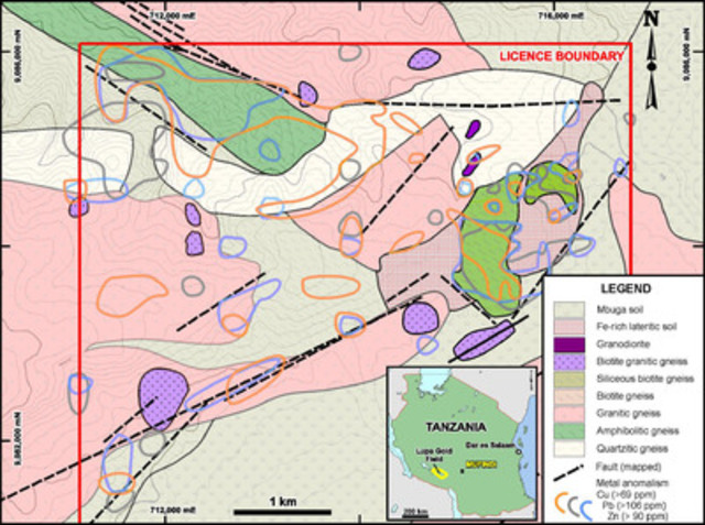 Geology map of the northern portion of the Mufindi licence showing areas of elevated copper, lead and zinc in soil samples. (CNW Group/Tanzania Minerals Corp)