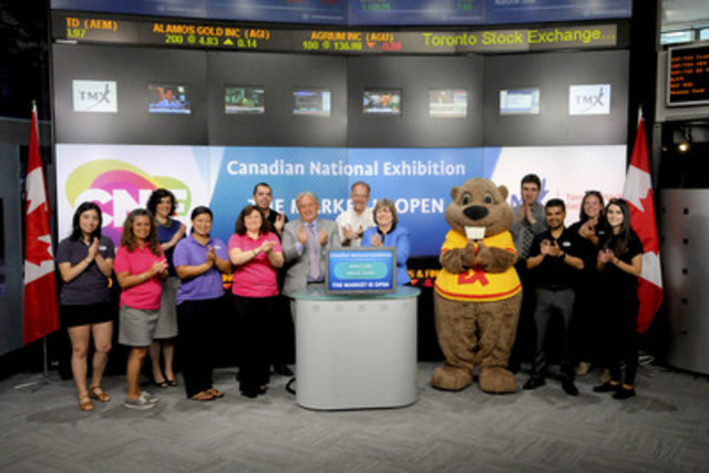 Virginia Ludy, General Manager & John Kiru, Vice President, Canadian National Exhibition Association, joined Suzanne Peters, Director, Business Communications & Strategic Programs, TMX Group to open the market in celebration of the 137th Canadian National Exhibition (CNE). Founded in 1879, The CNE is the largest fair in Canada and one of the Top 10 in North America, and in 2014 attracted more than 1.4 million visitors over 18 days. New attractions will join many returning favorites in the 2015 CNE line-up, including an all-new X-Pogo stunt show, Acrobatic & Ice Skating Show with Olympic gold medalists Tessa Virtue and Scott Moir, West Coast Lumber Jack Show and Craft Beer Festival. The 2015 CNE also marks the return of the CNE Sky Ride, SuperDogs and Food Truck Frenzy. The CNE will open its gates August 21 - September 7, 2015 in Toronto. For more information please visit theex.com. (CNW Group/TMX Group Limited)