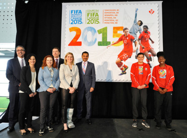 The unveiling of the FIFA Women's World Cup Canada 2015™ stamp in Edmonton (left to right): Peter Montopoli (Canadian Soccer Association, National Organizing Committee FIFA Women's World Cup Canada 2015); Susan Margles (Canada Post); Sian Mathews (Canada Post) Michael Walters (City of Edmonton); Hayley Wickenheiser (Ambassador for the FIFA Women's World Cup Canada 2015); Hon. Bal Gosal (Minister of State - Sport); Christine Sinclair (Canada's national women's team); Kadeisha Buchanan (Canada's national women's team)  (CNW Group/Canada Post)