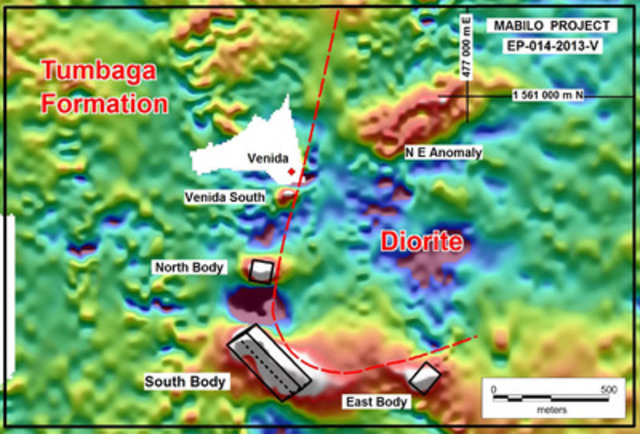 Figure 1. RTP ground magnetic image with the modeled South, North and East bodies. The Venida area was not surveyed by ground magnetics due to an existing small scale mining operation which has subsequently ceased operations. (CNW Group/RTG Mining Inc.)