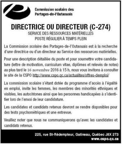 Description de poste (Groupe CNW/Commission scolaire des Portages-de-l'Outaouais)