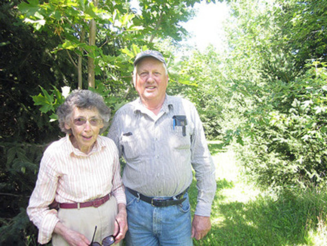 Bill and Mabel Almond of Meaford, Ont., are Trees Ontario's latest Green Leaders. The couple planted nearly 32,000 new trees on part of their 180-acre property through the government of Ontario's 50 Million Tree Program. (CNW Group/Trees Ontario)