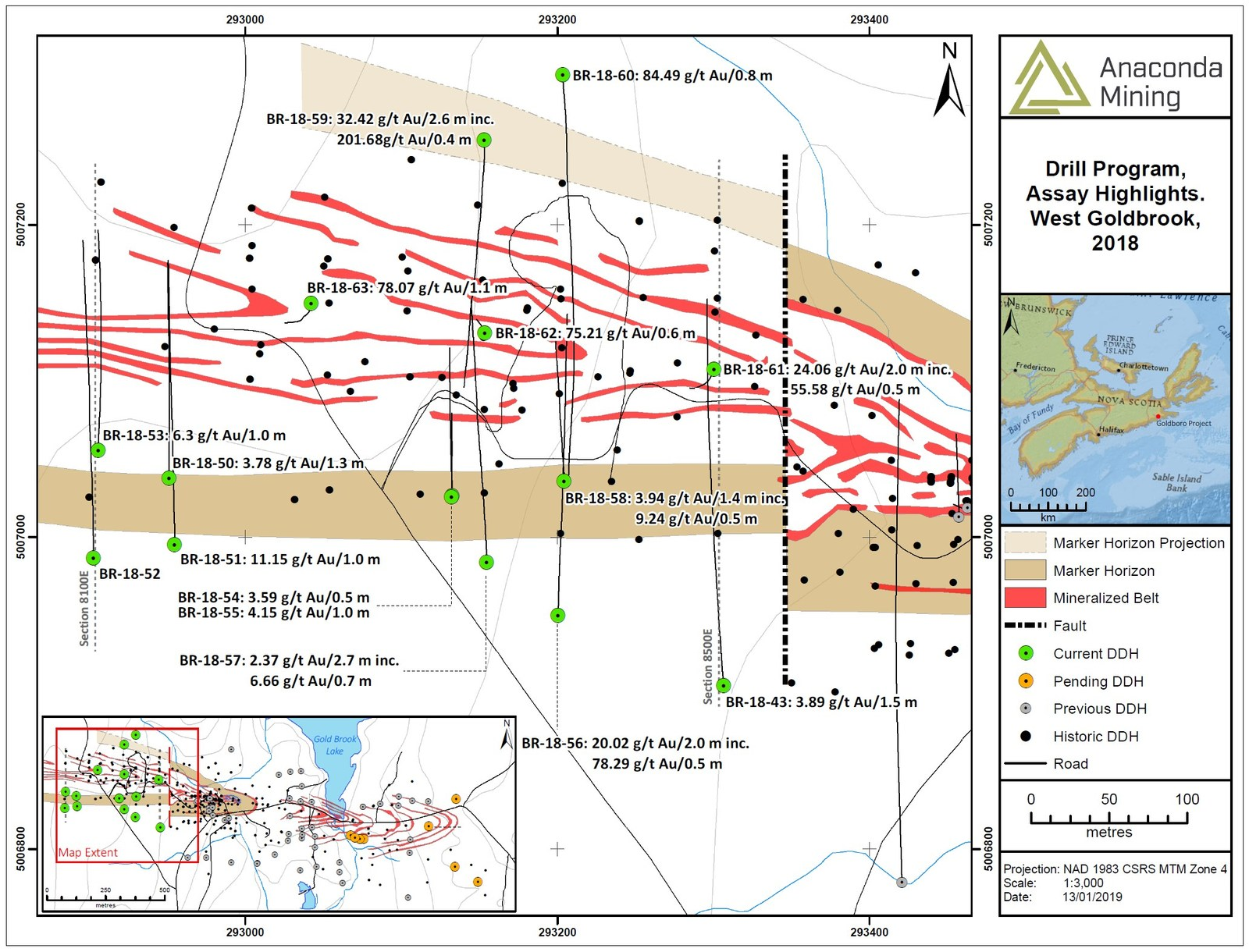 Exhibit B. A map of the West Goldbrook area showing the location of recent drilling and highlights. The Marker Horizon was intersected in drilling demonstrating that the mineralized zones of the WG Gold System are geologically equivalent to the BR Gold System.