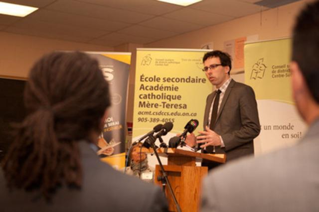 Première poursuite judiciaire intentée par un conseil scolaire de langue française contre le gouvernement de l'Ontario en matière d'installations scolaires (Groupe CNW/Conseil Scolaire de District Catholique Centre-Sud)
