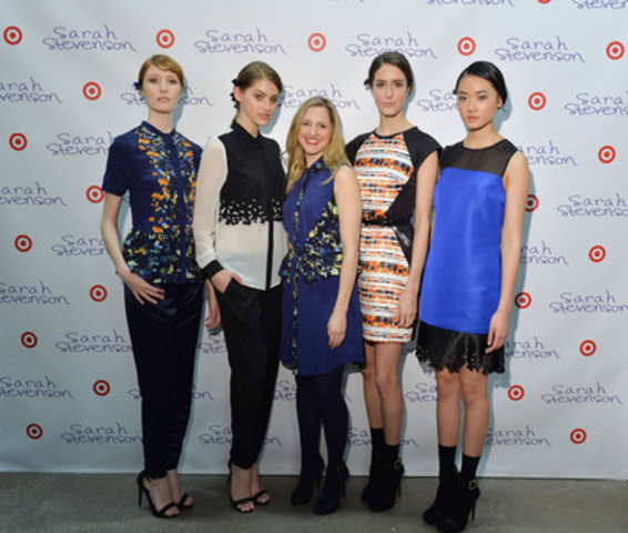 Tonight, Toronto designer Sarah Stevenson (centre) celebrated her upcoming limited time only collection for Target Canada. The event previewed the 15 piece floral collection, which will launch exclusively at Target stores across Canada on March 23, 2014. (CNW Group/Target Canada)