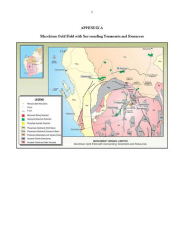 APPENDIX A - Murchison Gold Field with Surrounding Tenements and Resources (CNW Group/Monument Mining Limited)