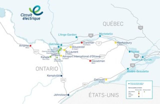 Carte des emplacements des bornes du Circuit électrique. (Groupe CNW/Circuit électrique)