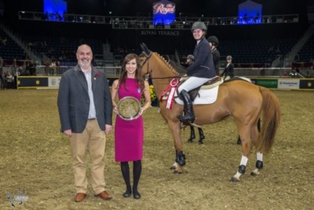 Laura Robertson and Bloomsbury are presented as winners of the $5,000 Royal Pony Jumper Final by sponsor William Tilford of Marbill Hill Farm, and Martine Stibrany of the Royal Agricultural Winter Fair. Photo by Ben Radvanyi Photography (CNW Group/Royal Agricultural Winter Fair)