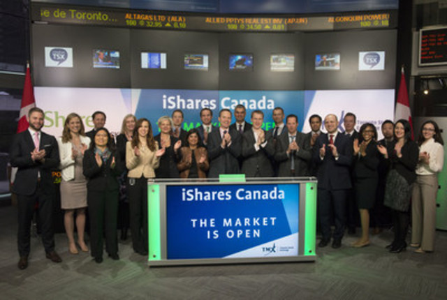 Warren Collier, Managing Director, Head of the Canadian iShares Business, BlackRock Asset Management Canada Limited, will join Ungad Chadda, Senior Vice President, Toronto Stock Exchange on Tuesday April 12, 2016, to open the market to launch three new Exchange Traded Funds (ETFs): iShares Edge MSCI Min Vol USA Index ETF (CAD-Hedged) (XMS); iShares Edge MSCI Min Vol EAFE Index ETF (CAD-Hedged) (XML); and iShares Edge MSCI Min Vol Global Index ETF (CAD-Hedged) (XMY). iShares Funds are managed by BlackRock Asset Management Canada Limited. BlackRock provides investment management, risk management and advisory services for institutional and retail clients worldwide. As of March 31, 2016, there were 395 ETFs listed on Toronto Stock Exchange, with a total market capitalization of approximately $97 billion. With these listings, iShares currently has 108 ETFs on TSX. XMS; XML; and XMY commenced trading on Toronto Stock Exchange on April 11, 2016. (CNW Group/TMX Group Limited)