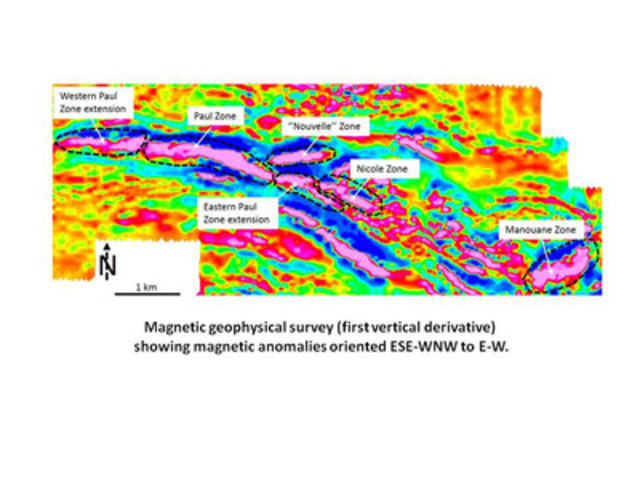 Magnetic geophysical survey (first vertical derivative) showing magnetic anomalies oriented ESE-WNW to E-W. (CNW Group/Arianne Phosphate Inc.)
