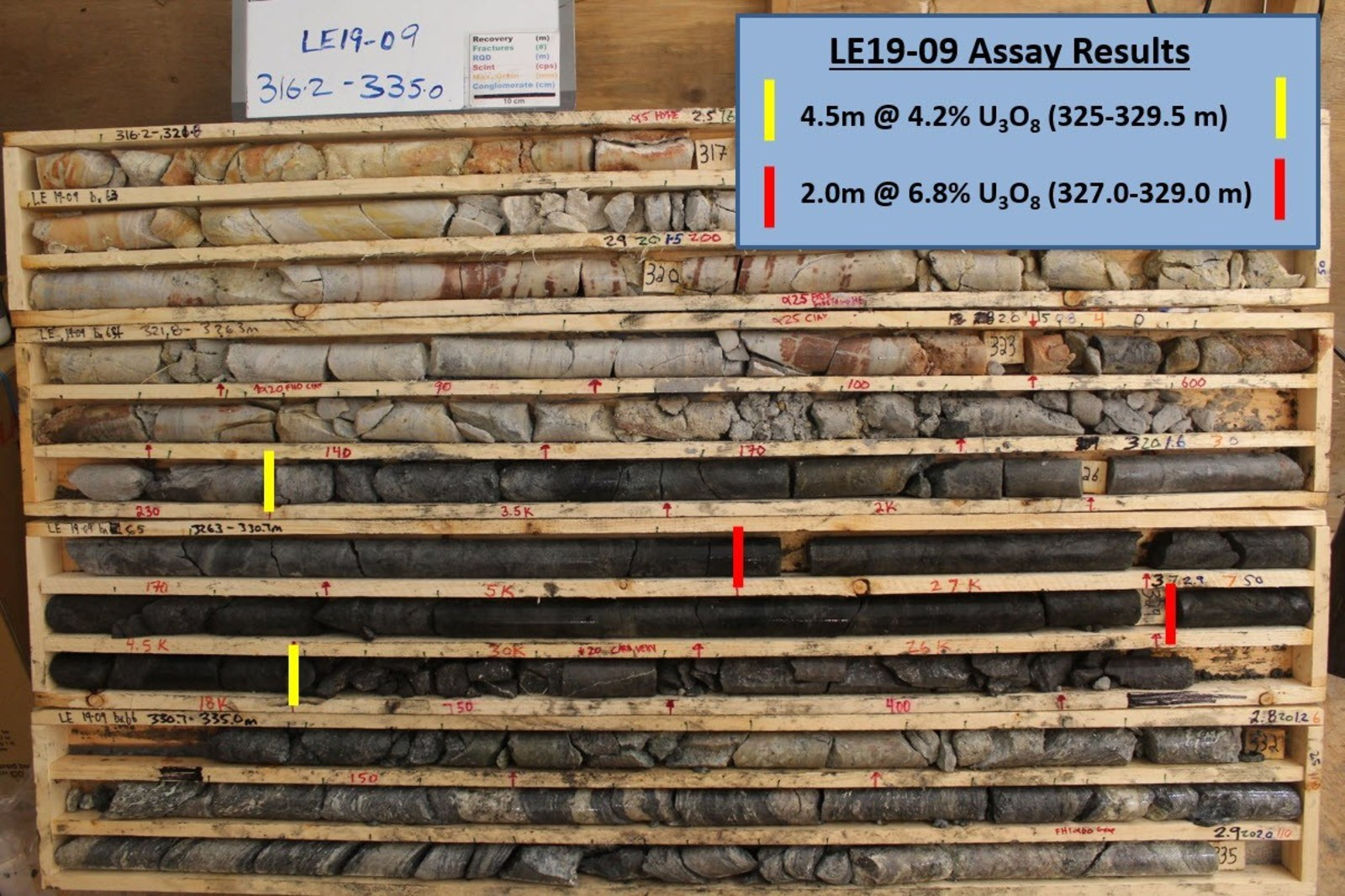 Figure 4 – Core Photo of Mineralization in Drill Hole LE19-09
