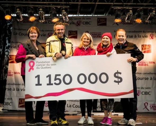 On the picture, from left to right: Nathalie Tremblay, Chief Executive Officer of Quebec Breast Cancer Foundation; Robin Roy, MC; Pam McLernon, QCBF Founder; Mitsou Gélinas, QBCF Volunteer Spokeperson; and Sylvain Vinet, Region Head - Eastern Canada, CIBC Bank (CNW Group/Quebec Breast Cancer Foundation)