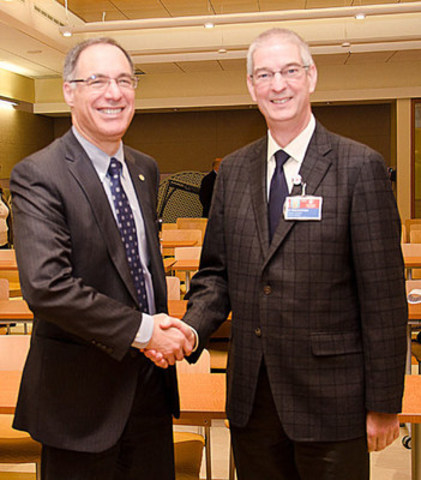 Dr. David Eidelman, Vice-Principal (Health Affairs) Dean of Medicine at McGill and René St-Arnaud, Ph.D. (CNW Group/Shriners Hospitals For Children)