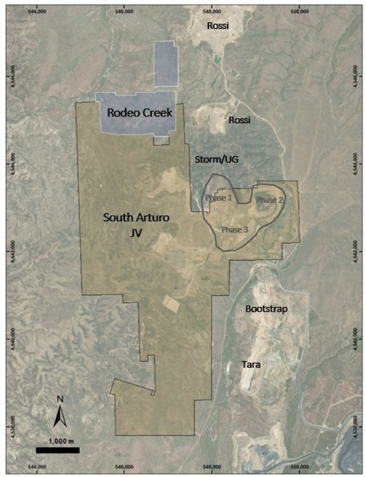 Figure 4: Property limits of Rodeo Creek and South Arturo showing the proximity of the near gold mines.