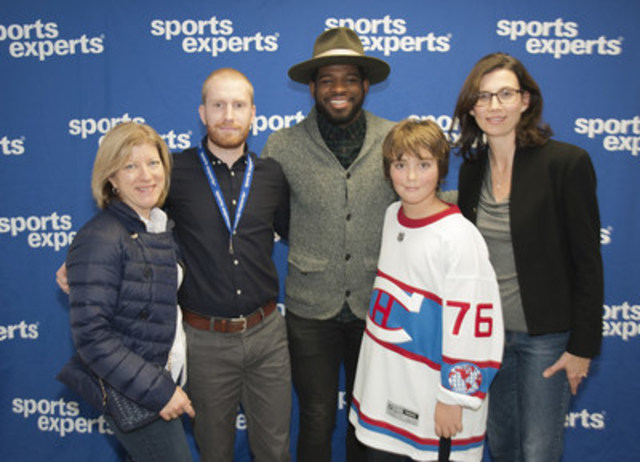 From left to right: Marie-Josée Gariépy, President, The Montreal Children's Hospital Foundation, Simon Beaulieu, co-owner, Sports Experts, Carrefour Laval, P.K. Subban, Justin Charette, Catherine Britt, Vice President, The Montreal Children's Hospital Foundation  (CNW Group/Sports Experts)