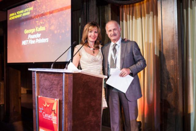 Dragons' Den's Dianne Buckner and Lifetime Achievement Award winner George Kallas at PrintAction Magazines 7th Canadian Print Awards. (CNW Group/MET Fine Printers)