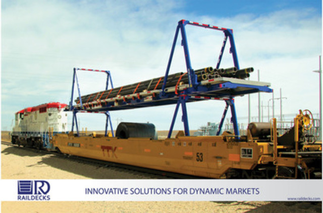 Two Raildecks containers double stacked for rail transport (CNW Group/Raildecks Intermodal)