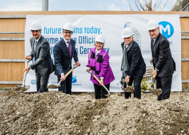 L-R: Alan Vihant, Sr. Vice President Great Gulf; Christopher Wein, President Great Gulf; Pam McConnell, Deputy Mayor City of Toronto; John Campbell, President and CEO Waterfront Toronto; Moshe Safdie, Safdie Architects (CNW Group/Great Gulf)