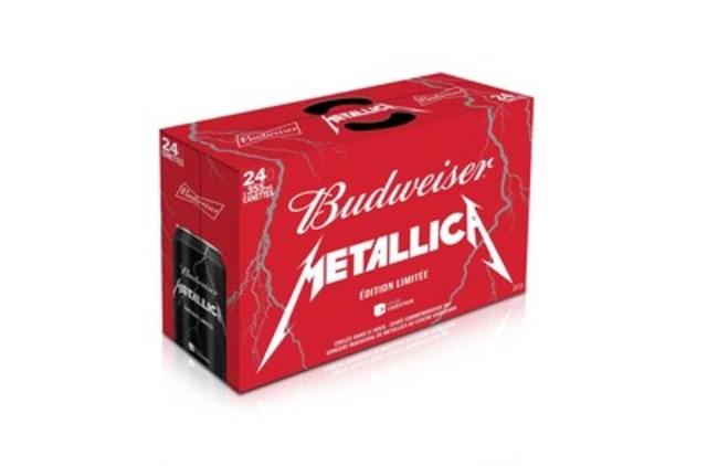La Budweiser « Coulée dans le Rock » Metallica sera offerte en emballages spéciaux de 15 et 24 canettes chez les marchands locaux au Québec dès le 28 septembre 2015. (Groupe CNW/BUDWEISER)