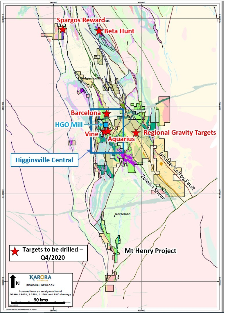 Figure 4: Plan view showing Karora tenement outline and active drill locations over the Karora Operations (CNW Group/Karora Resources Inc.)