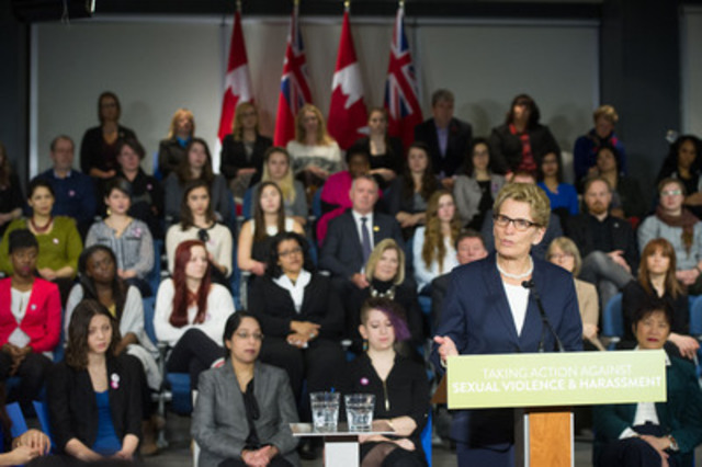 "Ontario Premier Kathleen Wynne spoke before the Canadian Federation of Students-Ontario during a campaign launch aimed at ""Taking Action Against Sexual Violence and Harassment"" at the YWCA on Elm street in Toronto, ON. (CNW Group/Canadian Federation of Students - Ontario)"