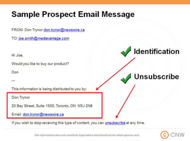 An example of a CASL-ready email message to prospects (CNW Group/CNW Group Ltd.)