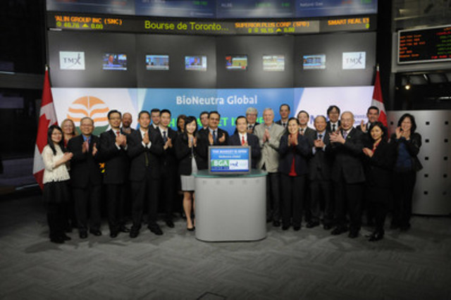 Dr. Jianhua Zhu, President & Chief Executive Officer, BioNeutra Global Corporation (BGA), joined Natalie Ho, Senior Manager, Listed Issuer Services, TSX Venture Exchange to open the market. BioNeutra is in the business of research and development, production and commercialization of ingredients for nutraceutical, functional and mainstream foods and beverages, with a focus on isomalto-oligosacharides. BioNeutra Global Corporation commenced trading on TSX Venture Exchange on December 9, 2015. For more information please visit www.bioneutra.ca. (CNW Group/TMX Group Limited)