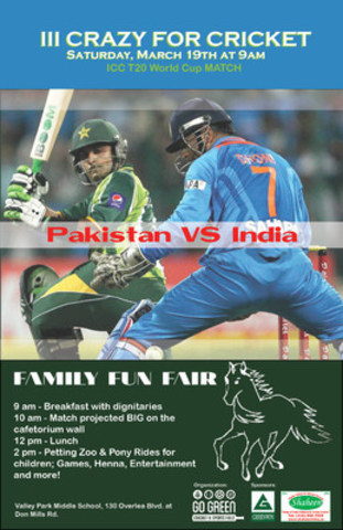 Event celebrates tradition and rivalry between cricket legends of Pakistan and India while families enjoy a fun fair. (CNW Group/Communications, Go Green Cricket and Sports Field)